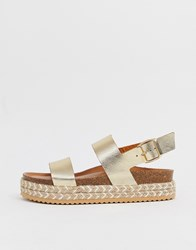Aldo Ruryan Leather Espadrille Sandals In Gold Gold