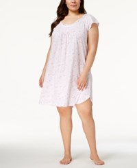 Miss Elaine Plus Size Floral Print Ruffled Neckline Nightgown Lilac Rose Toile