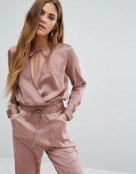 Young Bohemians Wrap Front Top With Tie Neck Co Ord Dusty Rose Pink
