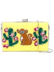 Gedebe Cactus And Monkey Clutch Women Metal One Size Yellow Orange
