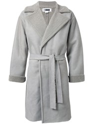 H Beauty And Youth Belted Single Breasted Coat Grey