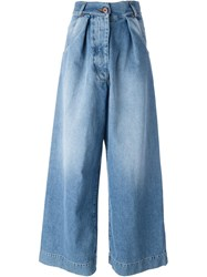 Off White Pleated Jeans Blue