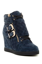 Cecelia Allan Quilted Wedge Sneaker Blue