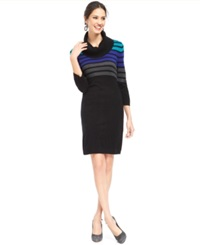 Connected Three Quarter Sleeve Ombre Stripe Sweater Dress