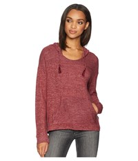 Roxy Love In The Sky Knit V Neck Top Tawny Port Heather Clothing Brown