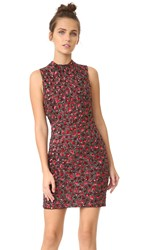 Alice Olivia Rosalee Embroidered Mock Neck Dress Black Ruby