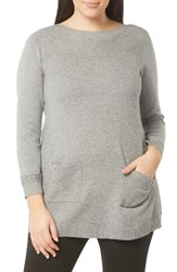 Evans Plus Size Women's Texture Stitch Knit Tunic Grey
