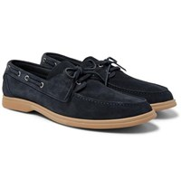 Brunello Cucinelli Suede Boat Shoes Navy
