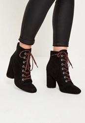 Missguided Black Lace Detail Block Heeled Ankle Boots