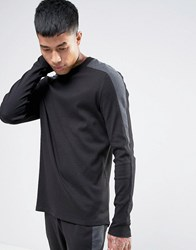 Asos Ribbed Long Sleeve T Shirt With Cut And Sew Panels Black