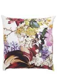 Roberto Cavalli Flors Printed Cotton Pillow White
