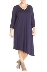 Plus Size Women's Eileen Fisher Deep V Neck Jersey Asymmetrical Shift Dress Midnight