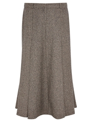 Viyella Herringbone Fit And Flare Skirt Mink