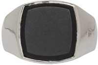 Tom Wood Silver Cushion Onyx Ring
