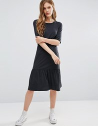 Noisy May Melanie Jersey Frill Hem Dress Dgm Grey