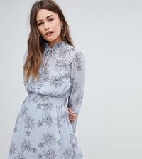 Boohoo Long Sleeve Floral Print Dress Multi