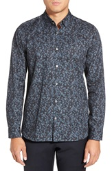 Ted Baker 'Amzdog' Extra Trim Fit Long Sleeve Floral Print Sport Shirt Blue