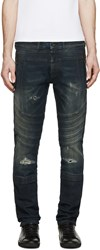 Diesel Black Gold Indigo Destroyed Biker Jeans