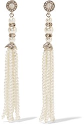 Kenneth Jay Lane Silver Tone Crystal And Faux Pearl Earrings White