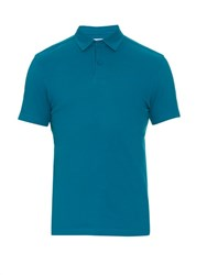 Orlebar Brown Andy Cotton Pique Polo Shirt Blue
