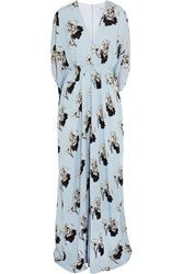 Issa Gisella Printed Silk Double Georgette Gown Blue