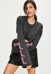 Missguided Grey Graphic Sleeve Print Cropped Sweatshirt