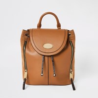 River Island Brown Flap Over Backpack