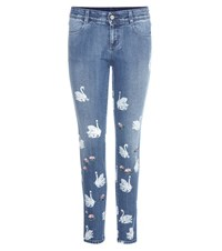 Stella Mccartney Printed Cropped Skinny Jeans Blue