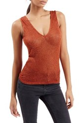 Topshop Deep V Neck Metallic Tank Orange