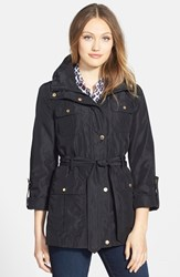 Petite Women's Ellen Tracy Techno Short Trench Coat Black
