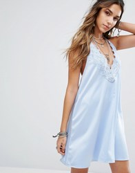 Kiss The Sky Halter Neck Slip Dress With Lace Insert And Tassel Ties Light Blue