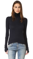 Enza Costa Cashmere Cuffed Turtleneck Cadet