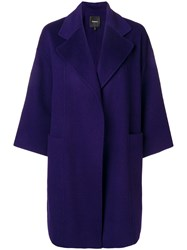 Theory Loose Fit Coat Pink And Purple