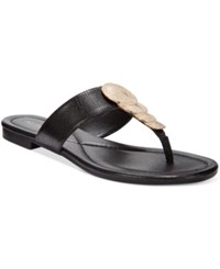 Alfani Harlquin Flat Thong Sandals Only At Macy's Women's Shoes Black Lizard
