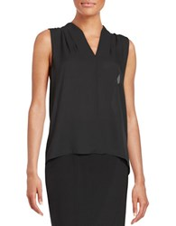 T Tahari Sleeveless Hi Lo Blouse Black