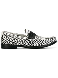 Dolce And Gabbana Woven Zig Zag Loafers Black