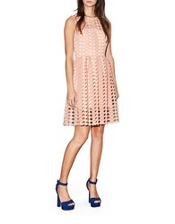 Cynthia Rowley Geo Lace Dress Nude