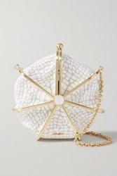 Cult Gaia Nika Croc Effect Leather Shoulder Bag White