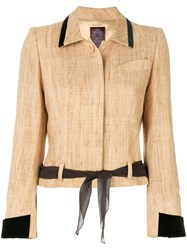 John Galliano Vintage Tied Waist Jacket Nude And Neutrals