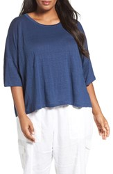 Eileen Fisher Plus Size Women's Organic Linen Jersey Tee Denim