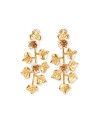 Oscar De La Renta Ivy Clip On Drop Earrings Gold