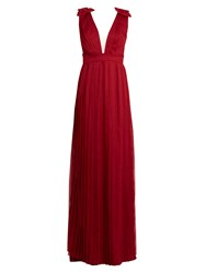 Raquel Diniz Anastasia V Neck Pleated Georgette Dress Dark Red