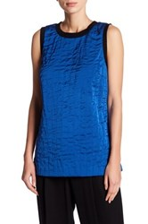 Dkny Quilted Silk Blend Tank Blue