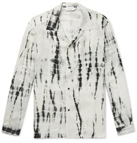 Sasquatchfabrix. Camp Collar Tie Dyed Crinkled Satin Shirt White