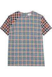 Victoria Beckham Paneled Plaid Cotton Top Blue