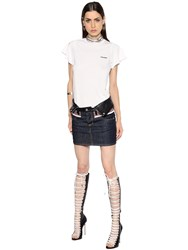 Dsquared Jersey And Denim Dress W Leather Details