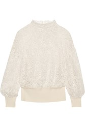 Burberry Ribbed Knit Trimmed Lace Sweater Ivory