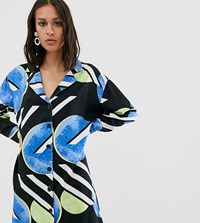 Native Youth Exclusive Shirt Dress In Abstract Spot Print Blue