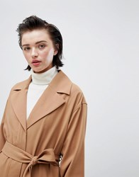 Weekday Oversize Belted Trench Coat In Camel Beige