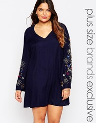 Truly You Embellished Bell Sleeve Swing Dress Navy